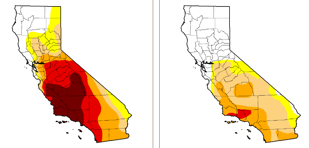 California Drought before and after January 2017